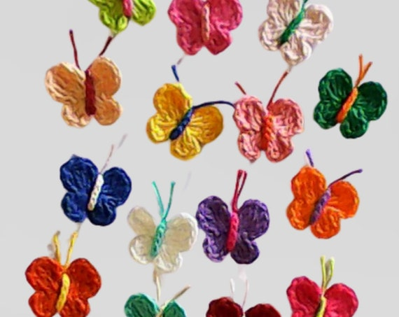 Appliques of 15 crocheted colorful butterflies small embellishments for sewing