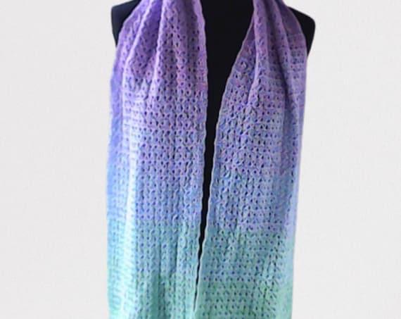 Crocheted long warm scarf in gradient purple green blue, crochet scarf, crochet wraps