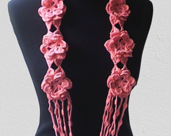 Crochet necklace with pink flowers accessoare fashion scarf unique gift
