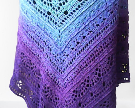 Crochet Shoulder Scarf Crochet Shoulder Wrap - Music Festival, Beach Wrap, Boho Triangle Cloth Purple Blue Gradient