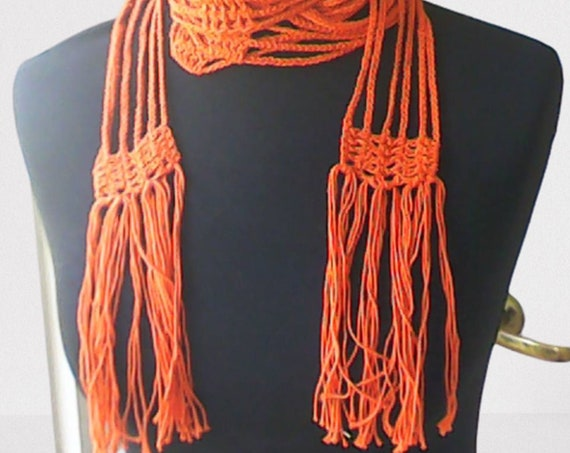 """Crochet thin long scarf brown with fringe length 88"""""""