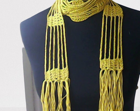Fringe long scarf, crochet summer necklace, long lace scarf, lover knot thin scarf, spring fashion scarf, crochet scarf