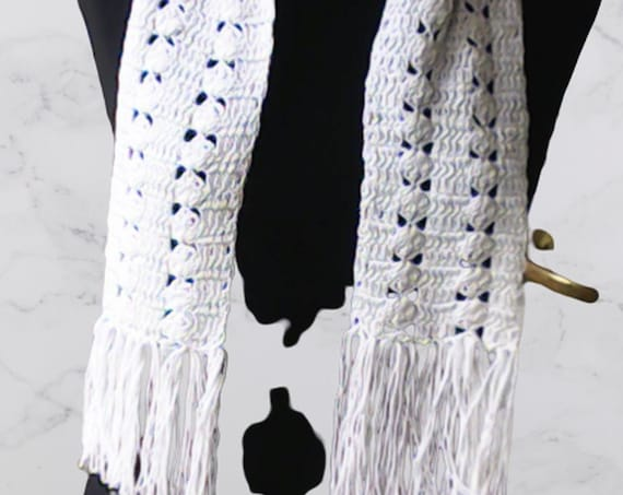 Long crocheted white scarf with fringes