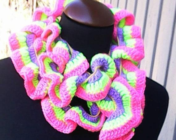 "Fashion ruffle scarf, crochet colorful scarf, length 77"", women accessory, ruffle neck warmer, neck warmer, fashionable summer scarf"