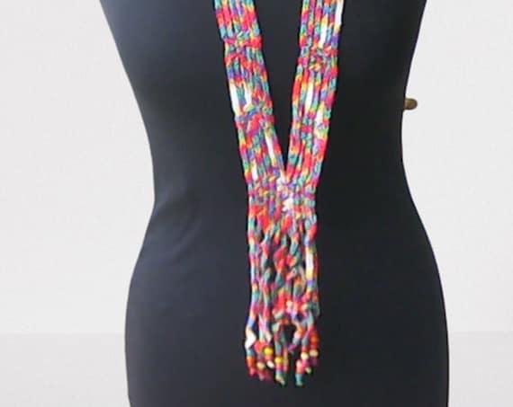 Boho necklace with beads, crochet unique necklace