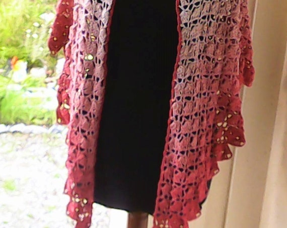 Hand crocheted triangle scarf in boho style wrap pink gradient scarf very long and soft