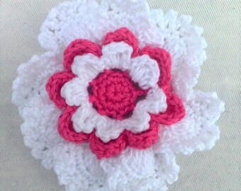 Large crochet flower for decorating hats and pockets 3.5 inches