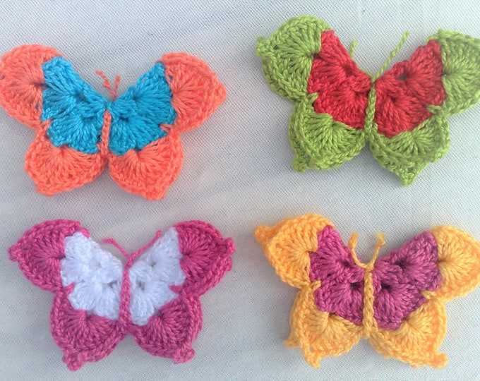 Butterflies, 4 pieces of crocheted butterfly applications three-dimensional in a colourful mix