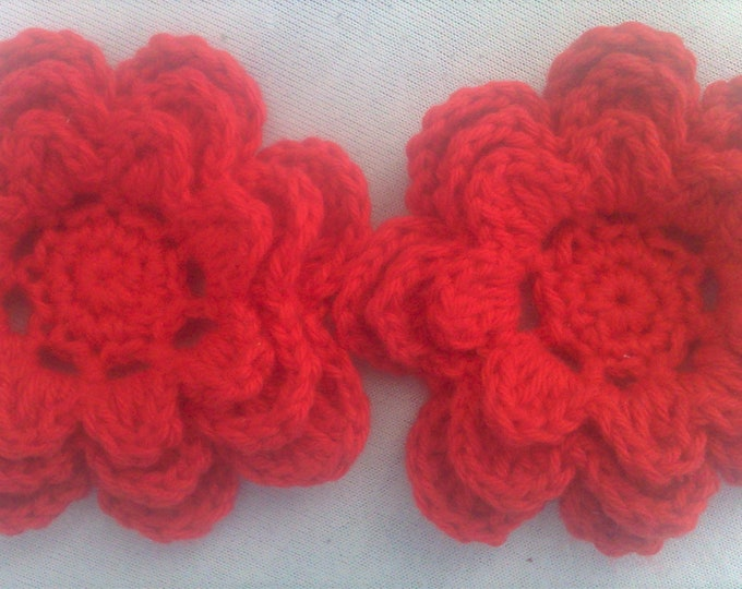 Crocheted Flower Set of 2 applications 3-inch decoration