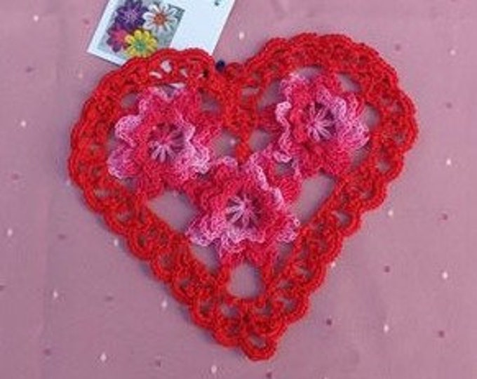 """Valentine's Day 3D cover with roses, 6 """"crocheted heart cover, application, vintage inspired rose application, embellishment"""