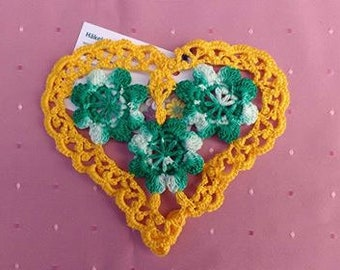 Yellow crocheted lace with 3d crochet flowers in turquoise