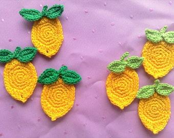 3 Lemon Crochet application in yellow, fake food fruits crochet