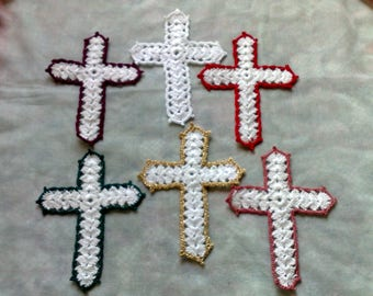 Mother's Day gift white crochet cross a Christian Bible accessory
