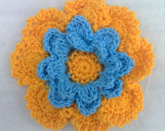 Hand crocheted flower applications colors yellow and blue cotton 3.5 inches