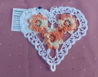 Cover in the shape of the hand crochet in cotton orange and beige mottled