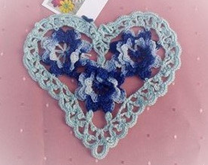 "Valentine's Day crochet covers appliqués, blue heart ceiling 6 ""wedding ceiling farmhouse chic country house clothes appliqués filigran"