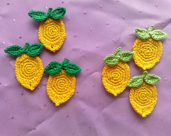 9 pieces in set lemons crocheted applique in yellow, false food fruit crochet