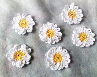 Daisy, crocheted White flower application