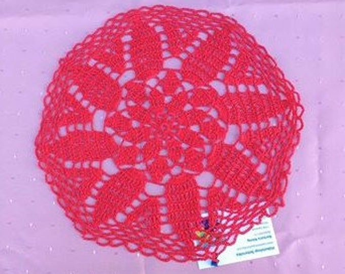 Red cover hand crochet 12 inch red cotton cover red round crochet cover handmade home decor