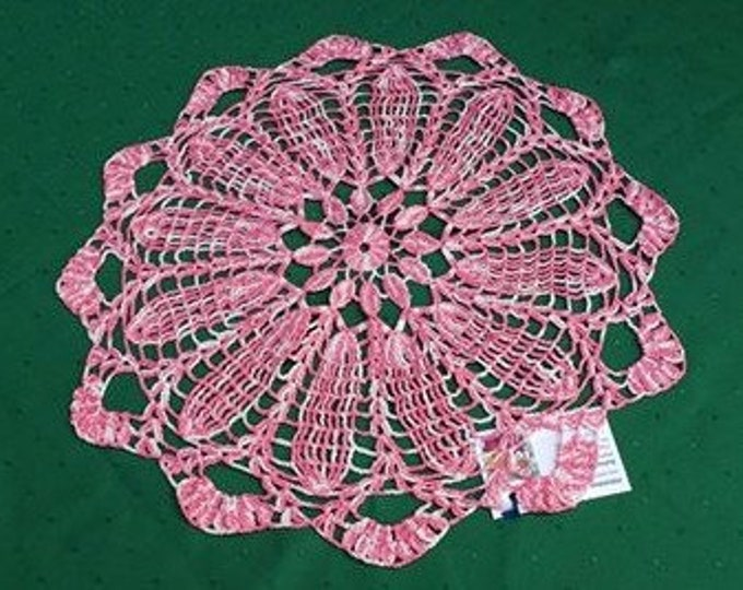 """Crochet cover, handmade lace cover 18 """"Two-color in pink and white"""