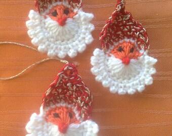 3 pieces crocheted Santa Claus application Christmas tree decorations, crochet Santa Claus face, crochet Christmas ornament handmade