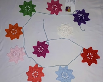 Crochet garland with colorful stars, crochet stars, crochet ammer, crochet wall décor, garland, home décor, cotton