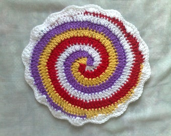 Crocheted Pot-cloth, double-layer thick and spiral-shaped