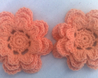 Applications of hand crocheted flower decoration set of 2 pieces in orange cotton 3Zoll