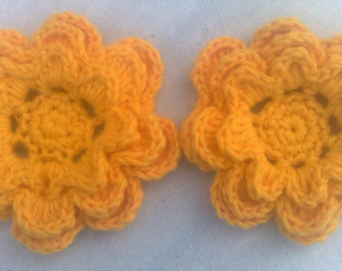 Crochet motif Flower 3-inch, yellow flower motif set of 2 pieces