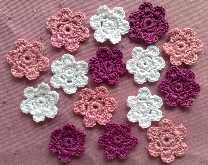 Crochet flowers in white, pink and cherry red patch for children's clothing