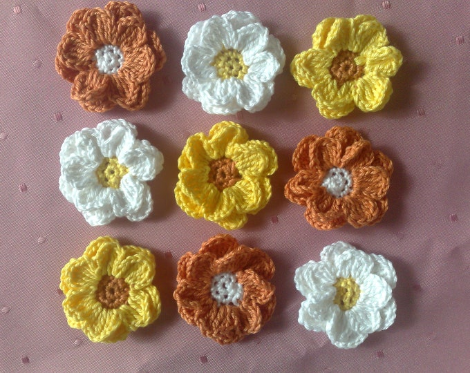 Colorful crocheted flowers, 9 beautiful floral appliqués, carpbooking and card-making