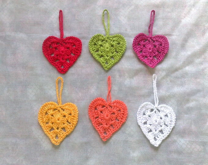 Crocheted Patch for gifts and Valentine's Day in dark pink, red, yellow, orange, green and white