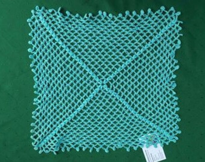 Sold out Turkish crochet cover in light blue cotton 16 inches