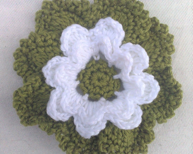 Crochet flower 3.5 inches in white and olive green for making a brooch