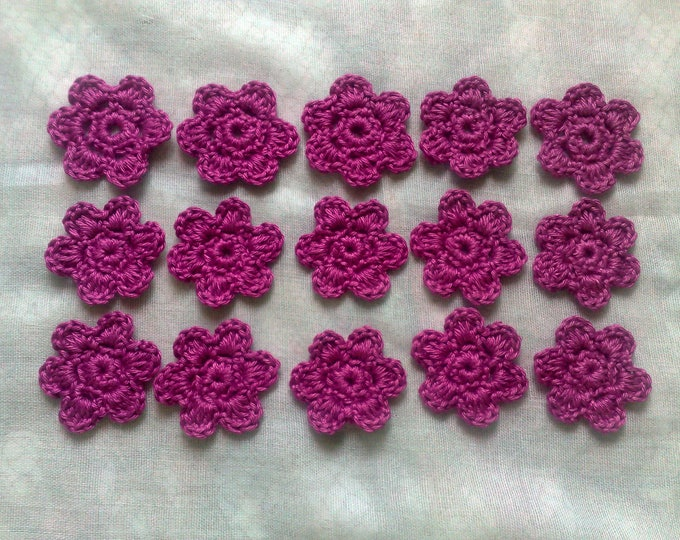Crocheted flowers for scrapbooking in cotton cherry red, crochet applications in set 15 pieces