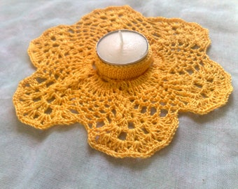 Mother's Day gift yellow crochet candle Holder for Thanksgiving