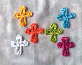 Colorful crosses patch, 6 small crochet applications in the colors white, yellow, blue, orange, cherry and green