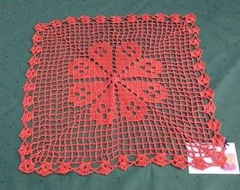 "Square Häkeldekchen 16 ""in a warm brown crochet in cotton for a cozy home culture"