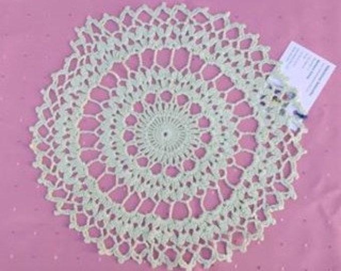 "Green Crochet cover 12 ""handmade cotton cover"