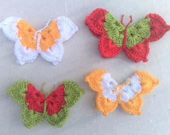 crocheted Butterfly Applications Three-dimensional in a colourful mix for decorative embellishments