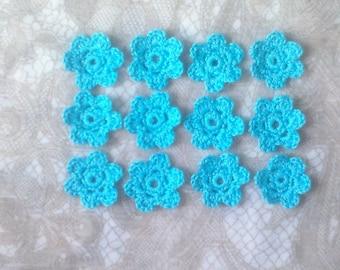 Crocheted Flowers, 12 pieces of crochet flowers in light blue