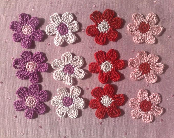Colorful crochet flowers, crochet application, Patch, Application, Floret, Daisy, crochet pattern