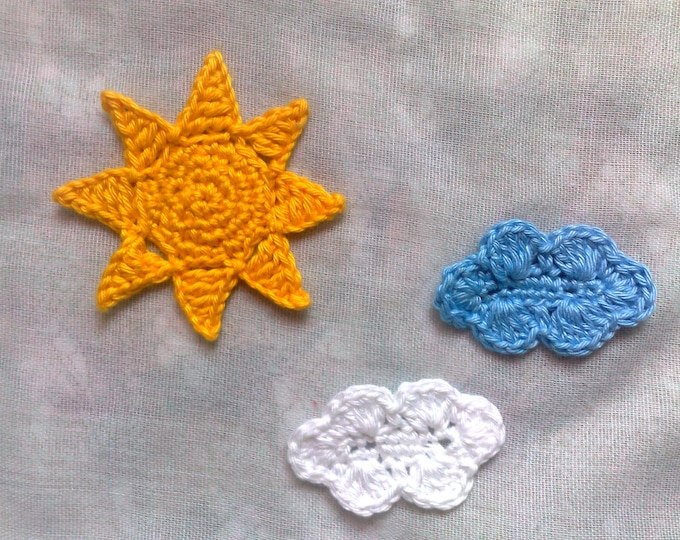 Sun and cloud application, yellow Sun patch and white and blue cloud Applique for ornaments
