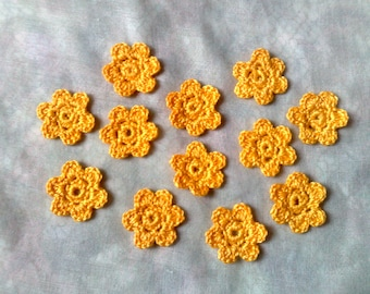 Shrub Marguerite yellow small crochet flowers 12 pieces for bridesmaid dress decorate