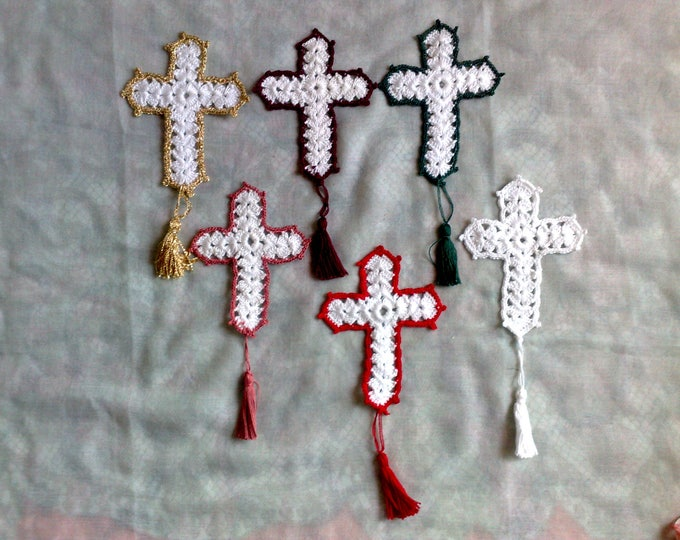 Mother's Day gift crocheted cross Bible bookmarks for Christian book lovers