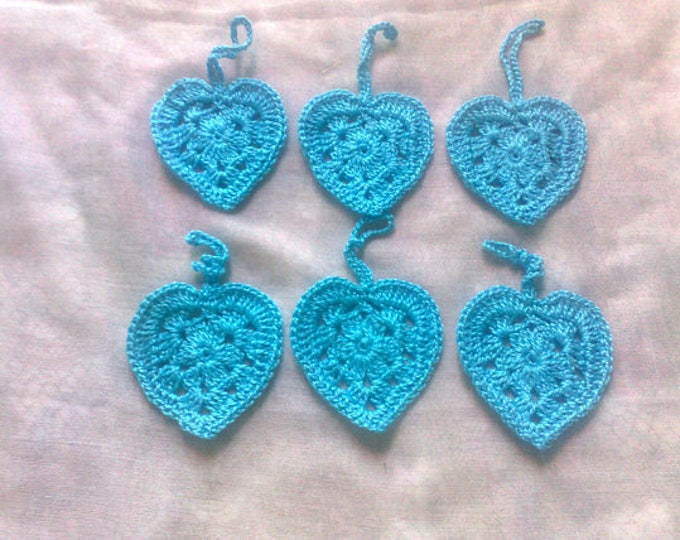 Valentine's Day gift pendant 6 pieces light blue crochet hearts