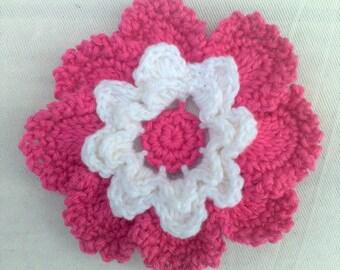 Baby Dark pink crochet flower applications crochet flower