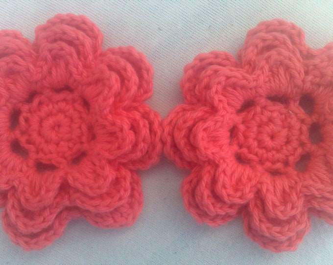 Crocheted Flowers set of 2 applications 3-inch ornament in apricot