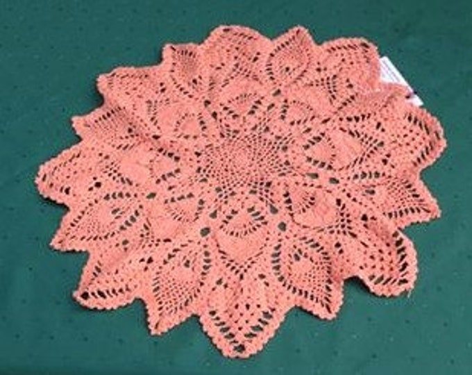 """15 """"round cover crochet exclusively in vintage style chic pineapple pattern round tablecloth in apricot wide use for home décor"""