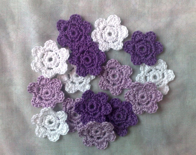 Crocheted Floral applications, 15 small white, lilac and purple crochet flowers
